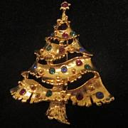 Vintage Goldtone Christmas Tree Pin with Colored Rhinestones
