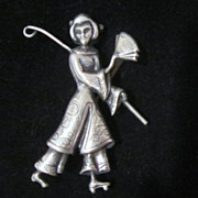 Vintage Sterling Silver Oriental Lady Pin