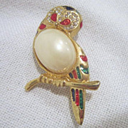 Vintage Owl Pin with Faux Pearl Body