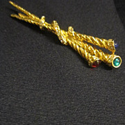 Gold Tone Pin with 3 Staffs, Red, Green & Blue Glass Tops