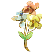 Three Flowers Pin with Rhinestones