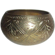 Wide Brass Bangle with Etched Patterns