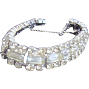 Classic Square Design Rhinestone Bracelet with Safety Chain