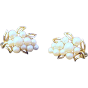 Pair of Trifari Clip Earrings Faux Pearls
