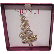 Monet Goldtone with Clear Rhinestones Christmas Tree Figural Pin in Presentation Box