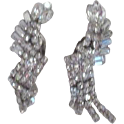 "Pair of 2 1/2"" Weiss Rhinestone Clip-on Earrings"