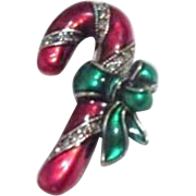 Red Enameled Christmas Candy Cane Pin