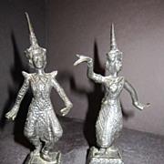Antique Bronze Pair of Siam Dancers