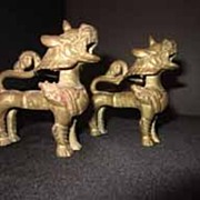 Antique Pair of Temple Guard Dogs