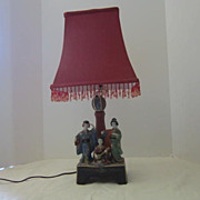 Vintage Oriental Hand Painted Lamp With Three Women