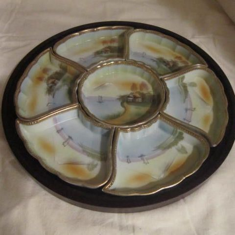 Vintage Oriental Hand Painted Porcelain Sweetmeat Tray in Wooden Holder