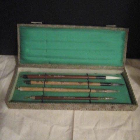 Vintage Chinese Calligraphy Set Brushes Unused in Original Box