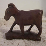 Vintage Oriental Hand Carved Wooden Young Water Buffalo