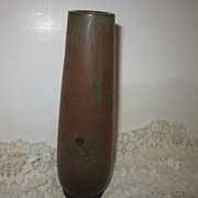 Vintage Small Brass Metal Vase with Etched and Painted Oriental Bamboo and Birds