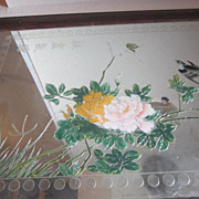 Vintage Oriental Framed Mirror with Gold Outlined Peonies
