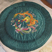 Vintage Chinese Green Round Pillow Case with Hand Embroidered Dragon and Phoenix