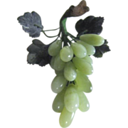 Jade Cluster of Grapes with Leaves