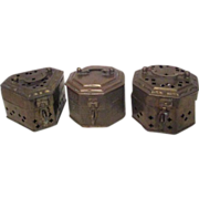 Three Brass Cricket Cages from India