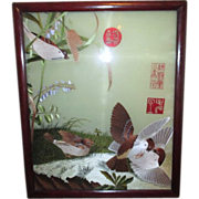 Embroidered Double Sided Picture of Birds with Asian Signs