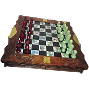 Asian Traveling Chess Set Wood Tile and Resin
