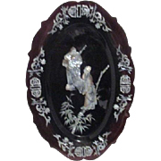 Black to Dark Red Lacquer Tray with Inlaid Mother of Pearl (Abalone Shell)