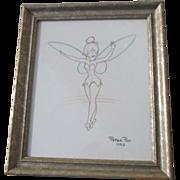 SOLD Framed Disney Print of Tinkerbell Sketch 1953