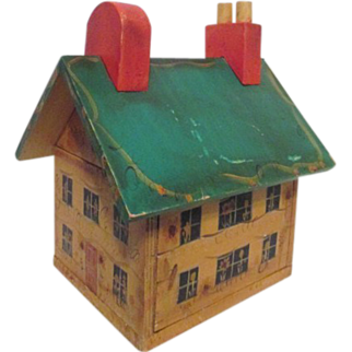 SALE Folk Art Hand Painted House with Removable Roof