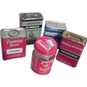 Set of 4 Spice Tins and 1 Spice Jar