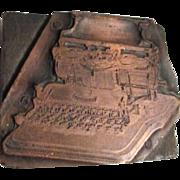 Printer's/Typesetter's  Wood Block Stamp with Hammond Typewriter