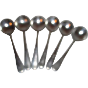Set of 6 Bell System Cafeteria Silver Plate Soup Spoons
