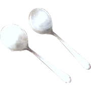 SALE Pair of Silver Plate Soup Spoons Fairfield Tulip