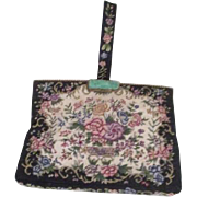 Vintage Tapestry Purse/Bag with Handle and Jade Clasp