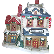 Mervyn's Christmas Village Square Barber Shop and Saloon