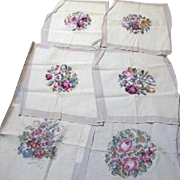 Set of 6 Handmade Needlepoint Chair Seat Covers 6 Different Floral Bouquets