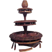 Large 3 Tier Hand Carved Wood Lazy Susan