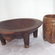 Vintage Wood Carved Nut Bowl and Wood Carved Mug