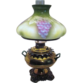 SALE Antique Brass Oil Lamp Converted to Electric Grape Clusters on Glass