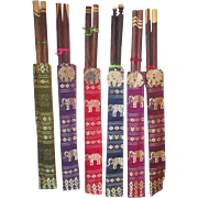 Set of 6 Pairs of Wooden Chopsticks in Brocade Cases with Elephant Motif