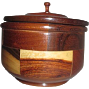 Wood Inlaid Lidded Round Box