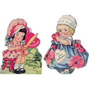 Pair of Mechanical Stiff Paper Valentines with Young Girl