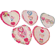 Set of 5 A-MERI-CARD Valentines Fold Over  Paper Lace Front Unused