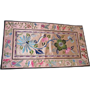 Chinese Embroidered Floral Panel