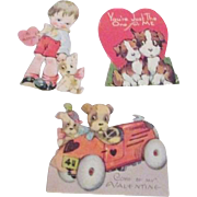 Set of Three Valentines with Dogs