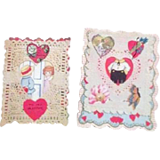 Pair of Vintage Valentines with Paper Lace and Poems Inside