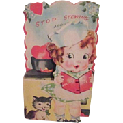 SOLD Vintage Valentine with Cook and Kitten