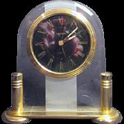 Linden Quartz Clock on Goldtone Stand
