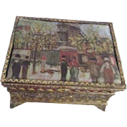 Small Gold Tone Filigree Footed Box with Satin Top Utrillo Scene