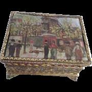 Small Gold Tone Filigree Footed Box with Satin Top Utrillo Scene
