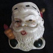 Vintage Wall Pocket- Santa with Rolling Pin