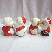 Vintage 2 Sets Hand Painted Christmas Kissing Santa & Mrs. Salt & Pepper